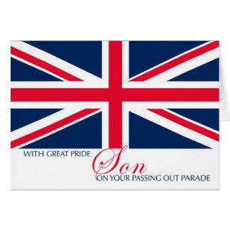 Cartão Filho que passa para fora a bandeira de Union Jack