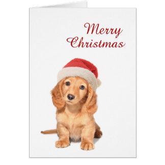 Cartão Filhote de cachorro bonito do Dachshund com Feliz