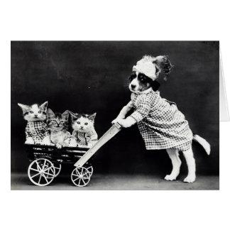 Cartão Filhote de cachorro com três gatinhos em uma