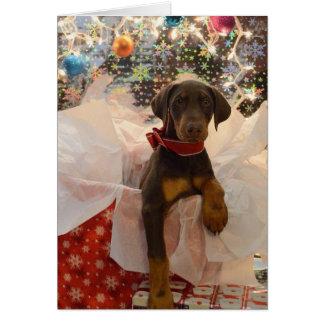 Cartão Filhote de cachorro de Dobie do Feliz Natal