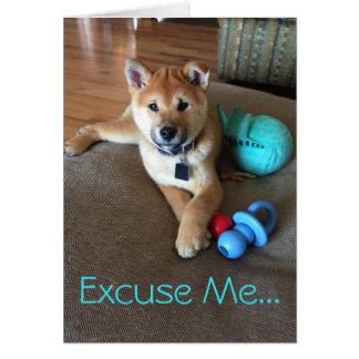 Cartão Filhote de cachorro de Shiba Inu com a fotografia