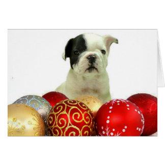 Cartão Filhote de cachorro do buldogue francês do Natal