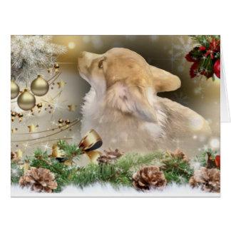 Cartão Filhote de cachorro do Corgi do Natal