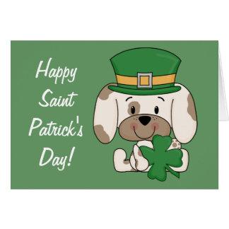 Cartão Filhote de cachorro do dia de Patrick de santo
