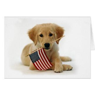 Cartão Filhote de cachorro do golden retriever do Dia da