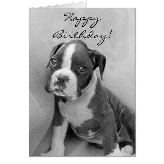 Cartão Filhote de cachorro do pugilista do feliz