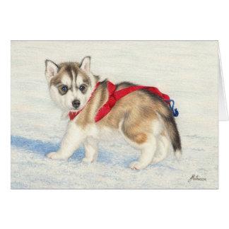 Cartão Filhote de cachorro do rouco Siberian na neve