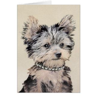 Cartão Filhote de cachorro do yorkshire terrier que pinta