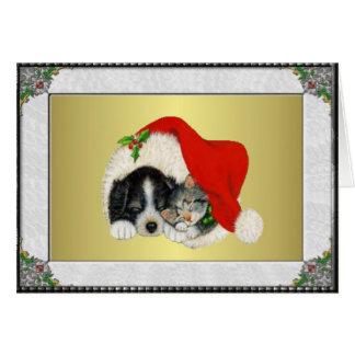 Cartão Filhote de cachorro e gatinho doces
