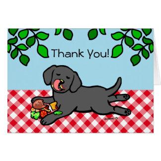 Cartão Filhote de cachorro e Hamburger pretos de Labrador