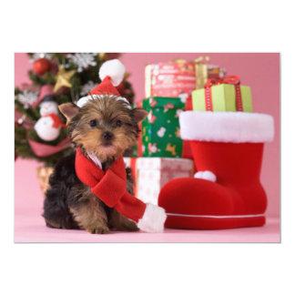Cartão Filhote de cachorro e Natal do yorkshire terrier