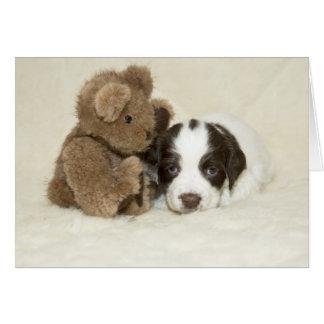 Cartão Filhote de cachorro e ursinho