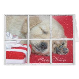 Cartão Filhote de cachorro feliz do retriever do