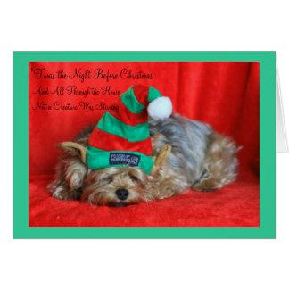 Cartão Filhote de cachorro sonolento que veste o chapéu