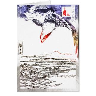 """Cartão filhote de cachorro vermelho """"Fukagawa Susaki e"""
