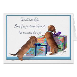 Cartão Filhotes de cachorro do Dachshund com uma mensagem