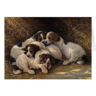 Cartão Filhotes de cachorro sonolentos,