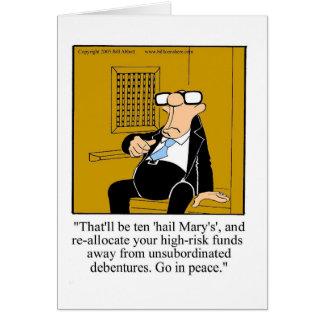 Cartão financeiro engraçado do vazio do humor