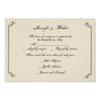 Cartão fino da resposta do casamento de Nouveau da