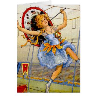 Cartão Fio alto de executor de circo das mulheres do