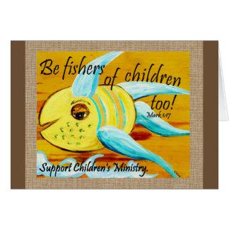 Cartão Fishers das crianças demasiado