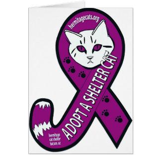 Cartão Fita atada da consciência: Adote um gato do abrigo