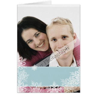 Cartão Fita azul com folha de prova dos flocos de neve