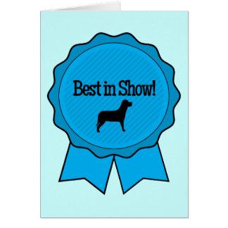 Cartão Fita azul melhor na mostra com o cão na silhueta