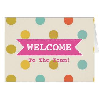Cartão Fita cor-de-rosa com as bolinhas coloridas da