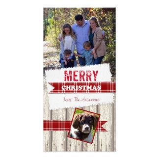 Cartão Fita da xadrez do Feliz Natal