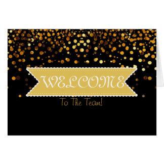 Cartão Fita do brilho do ouro com boa vinda branca da