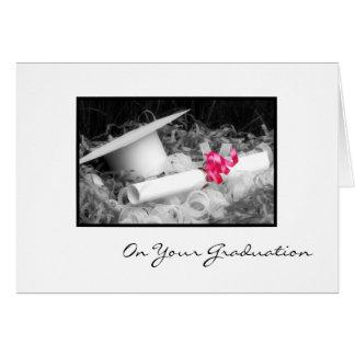 Cartão Fita do rosa do diploma dos parabéns da graduação