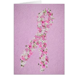 Cartão Fita floral cor-de-rosa da consciência do cancro