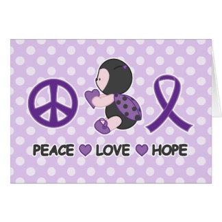 Cartão Fita roxa da consciência da esperança do amor da