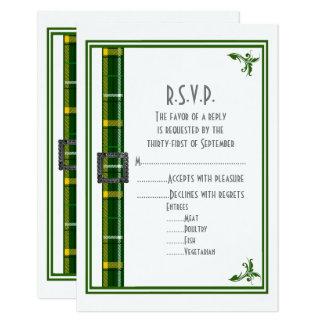 Cartão Fita verde da xadrez de tartan que wedding R.S.V.P