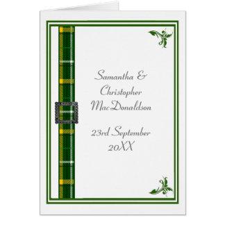 Cartão Fita verde e branca do tartan