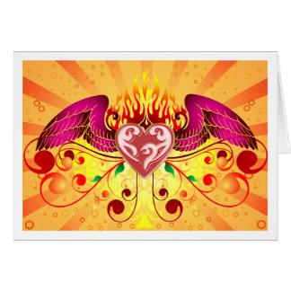 Cartão flamejante do coração