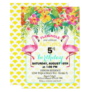 Cartão Flamingo da aguarela e aniversário floral tropical