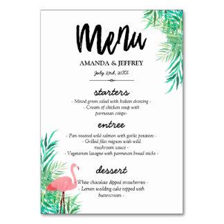 Cartão Flamingo & folhas de palmeira da aguarela que
