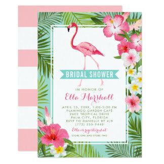 Cartão Flamingo tropical dos chás de panela |