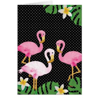 Cartão Flamingos cor-de-rosa tropicais em bolinhas