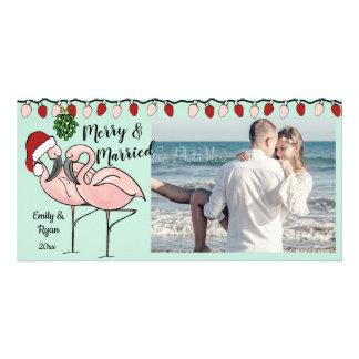 Cartão Flamingos e luzes do feriado