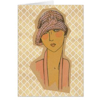 Cartão Flapper do art deco com Cloche