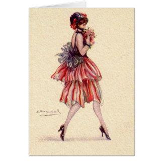 Cartão Flapper do vintage com flores,