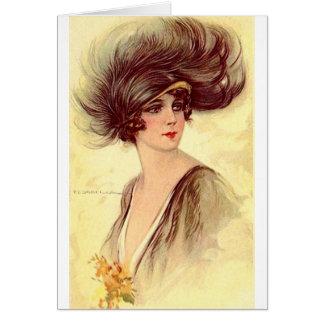 Cartão Flapper do vintage no chapéu emplumado,