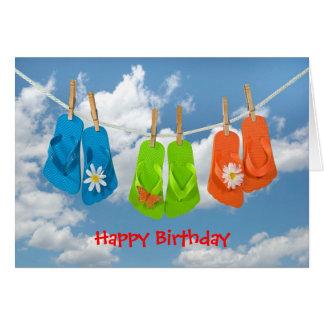 Cartão Flip-flops do aniversário