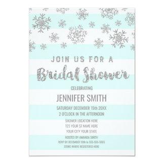 Cartão Floco de neve de prata das listras azuis do chá de