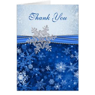 Cartão Floco de neve de prata no obrigado azul do