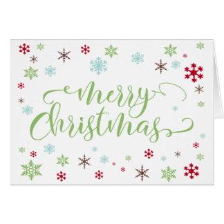 Cartão Floco de neve irrisório, tipo verde-maçã do Feliz