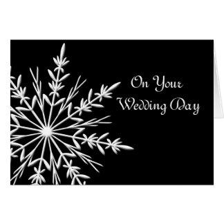 Cartão Floco de neve preto e branco casamento misturado